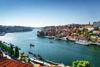 Beautiful view of the Douro River and boats in the historic cent