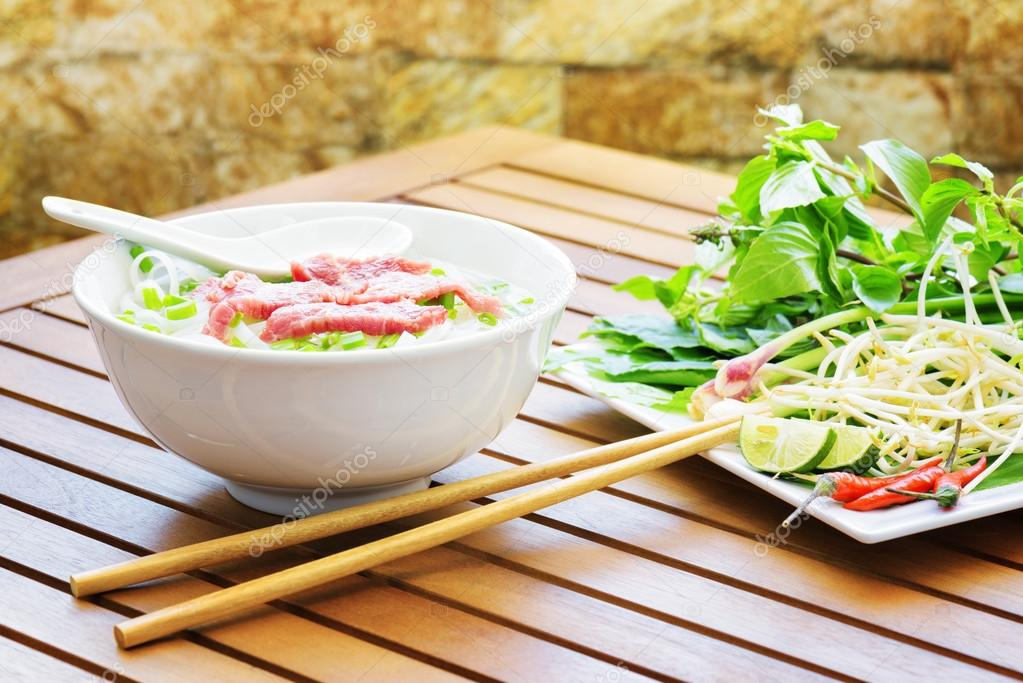 The Pho Bo is a beef noodle soup. Street food of Vietnam