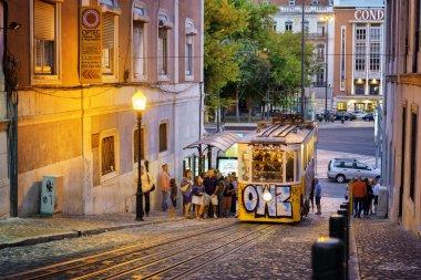 The Gloria Funicular in Lisbon, Portugal.