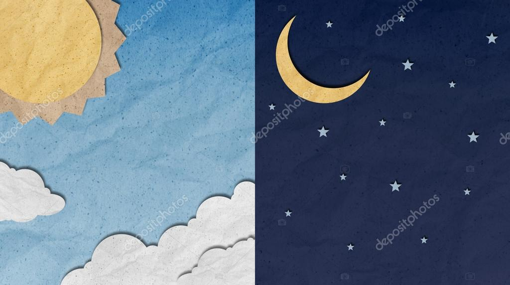 recycled paper craft ,Day and Night Sky