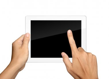 hands are holding and point on white Tablet PC Isolated