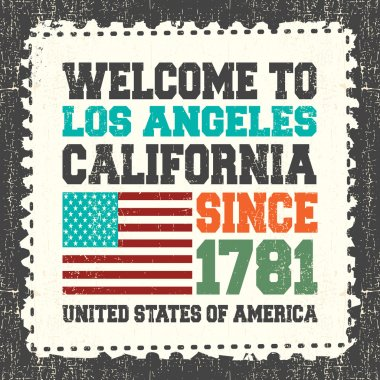 Invitation card with text Welcome to Los Angeles California. Since 1781 and american flag on grunge postage stamp.