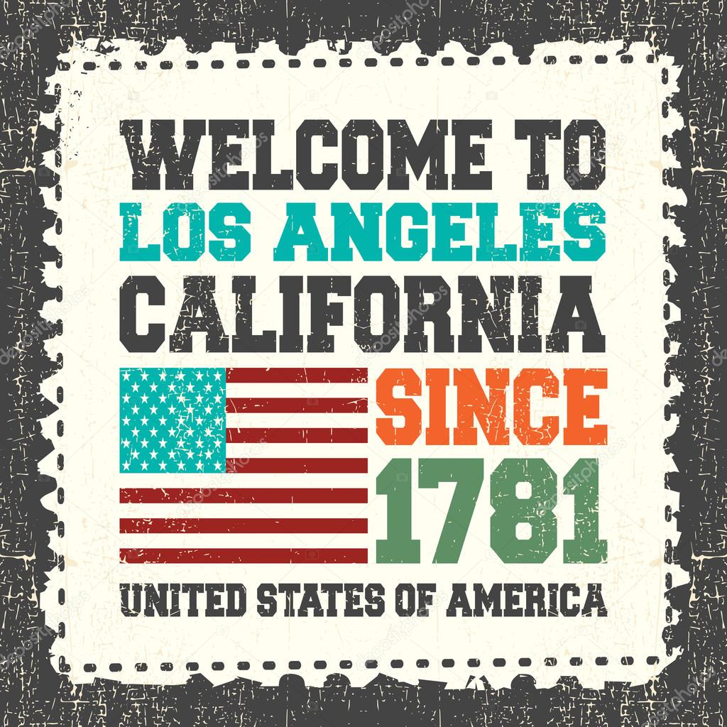 Invitation Card With Text Welcome To Los Angeles California Since 1781 And American Flag On