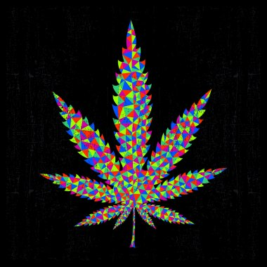Colorful marijuana leaf on black background. vector illustration
