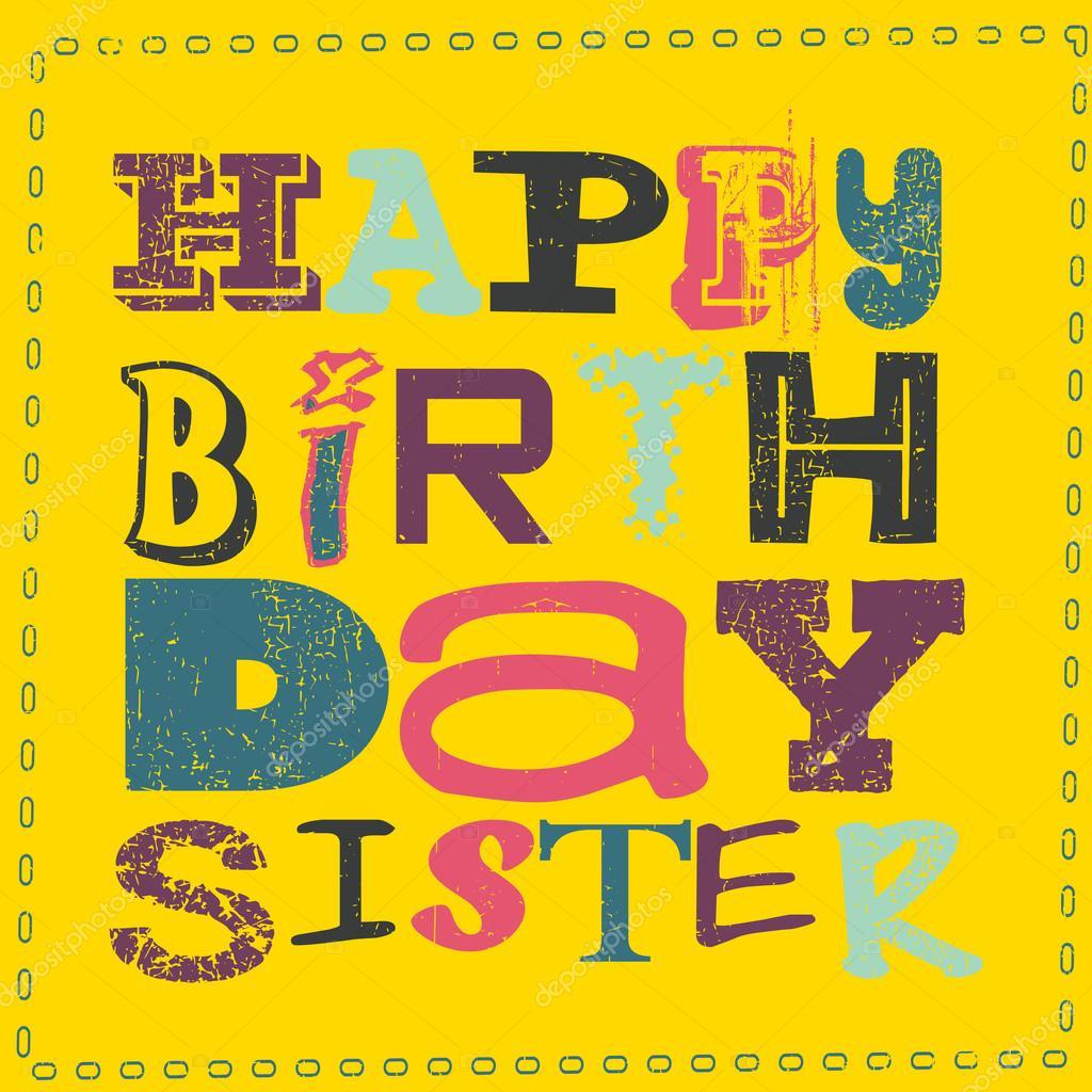 Genoeg Gelukkige verjaardag zus kaart — Stockvector © aleabievsasha  YS82