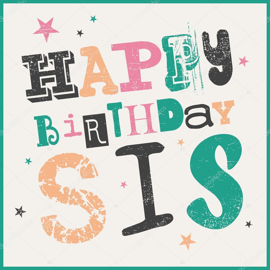 Alles Gute Zum Geburtstag Sis Karte Stockvektor
