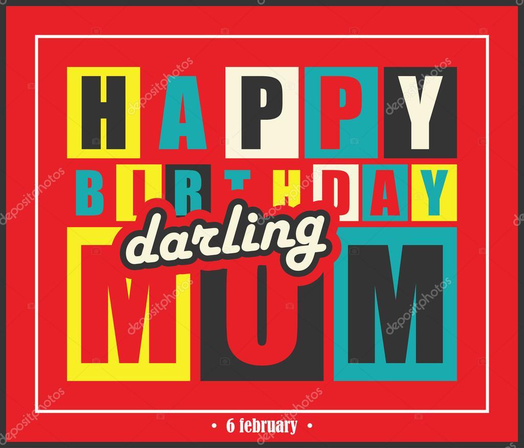 Carte Retro Joyeux Anniversaire Joyeux Anniversaire Maman Cherie