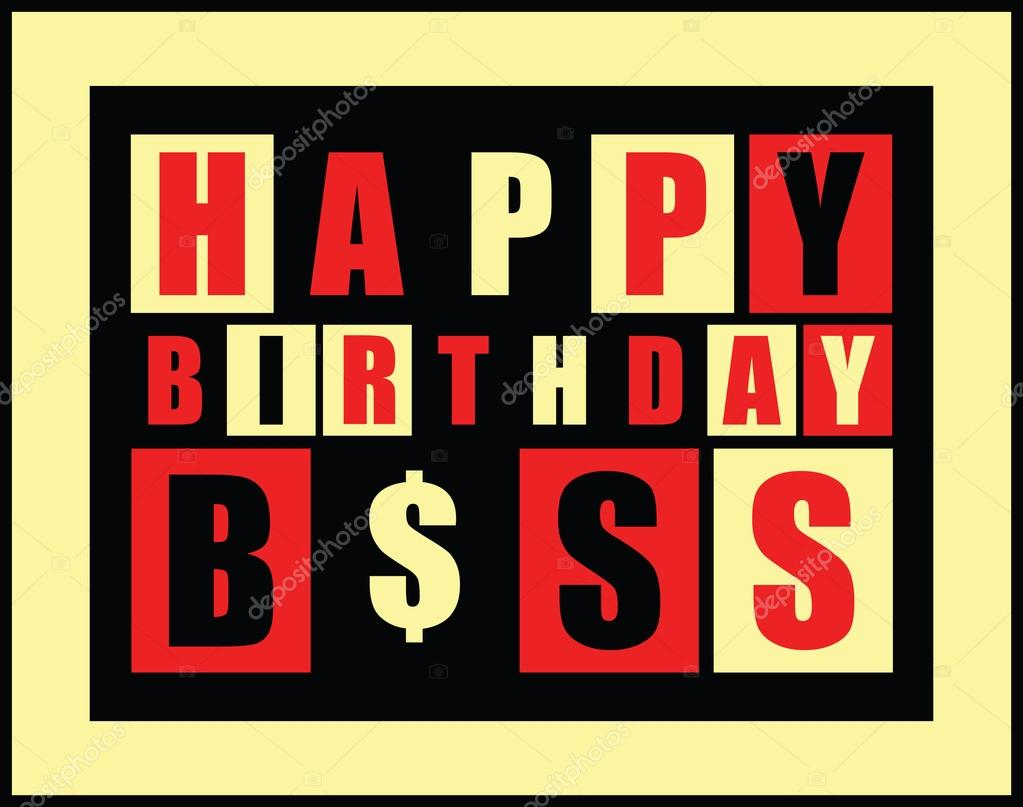 Happy Birthday Card Happy Birthday Boss Stock Vector