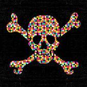 Fotografia Cranio di pixel colorati su fondo nero di lerciume