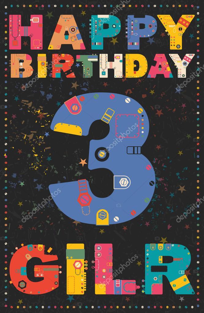 Gelukkige Verjaardagskaart Gelukkige Verjaardag Meisje 3 Jaar