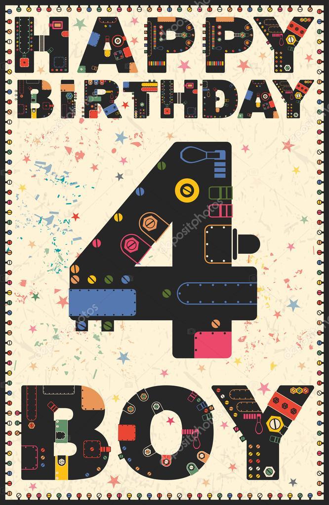 Gelukkige Verjaardagskaart Gelukkige Verjaardag Jongen 4 Jaar