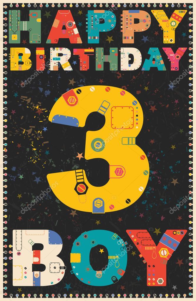 Gelukkige Verjaardagskaart Gelukkige Verjaardag Jongen 3 Jaar