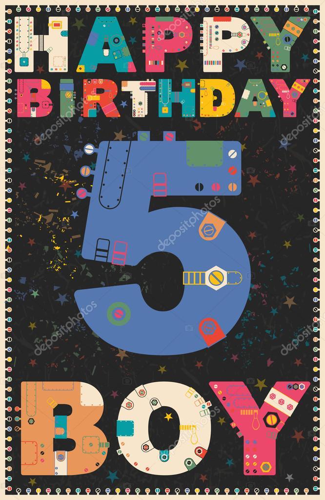 a953095ce2f0ab Happy birthday card. Happy birthday boy 5 year. — Stock Vector ...