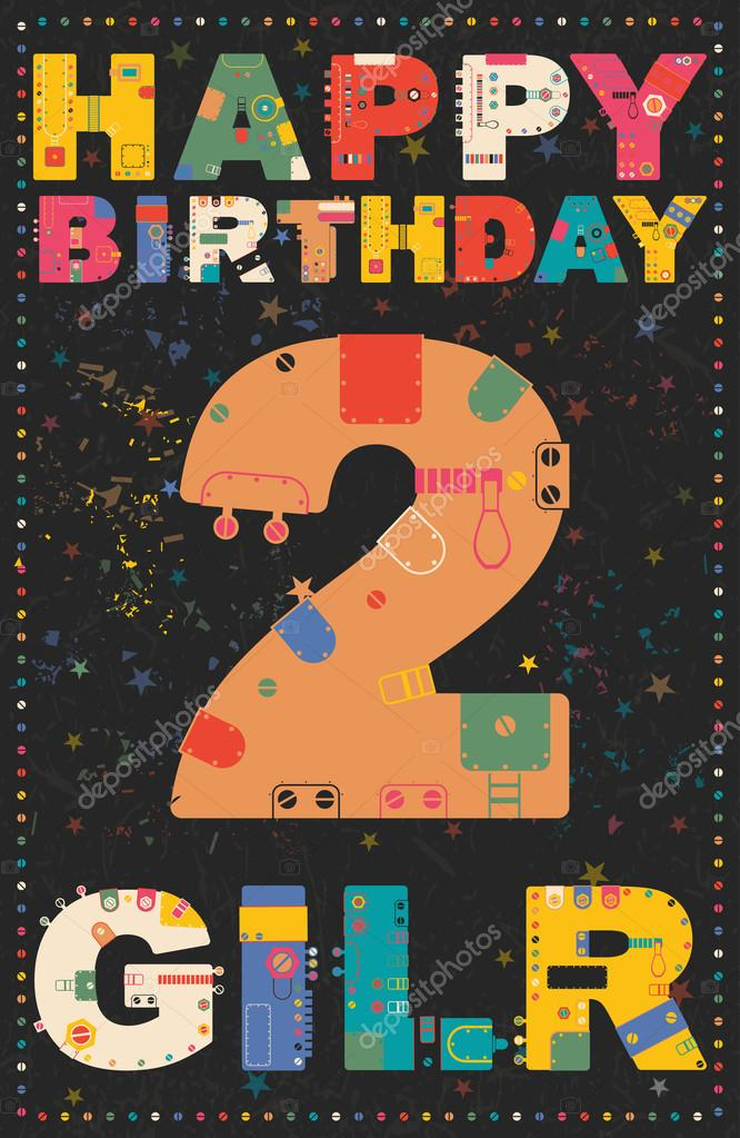 Carte De Joyeux Anniversaire Joyeux Anniversaire Fille 2 Ans
