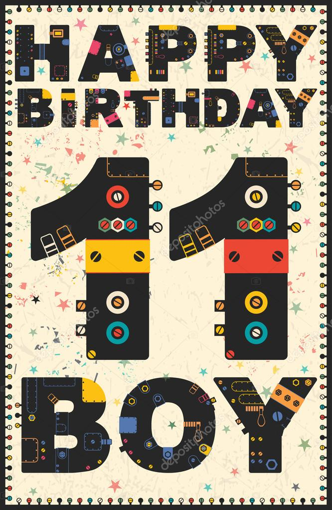 Carte de joyeux anniversaire gar on joyeux anniversaire 11 ans image vectorielle - Anniversaire garcon 11 ans ...