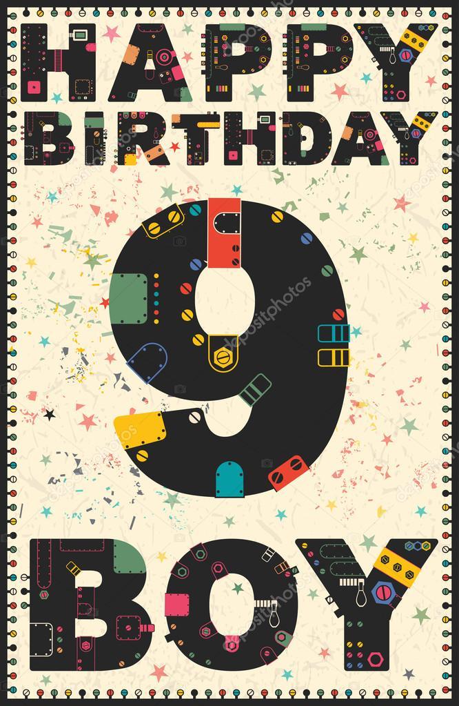 Extreem Gelukkige verjaardagskaart. Gelukkige verjaardag jongen 9 jaar &TE59