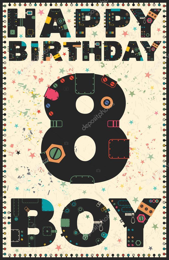 Happy Birthday Card Boy 8 Years Stock Vector
