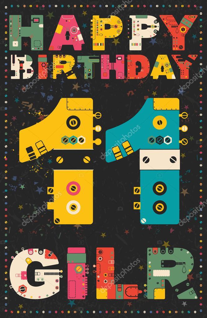 Gelukkige Verjaardagskaart Gelukkige Verjaardag Meisje 11 Jaar