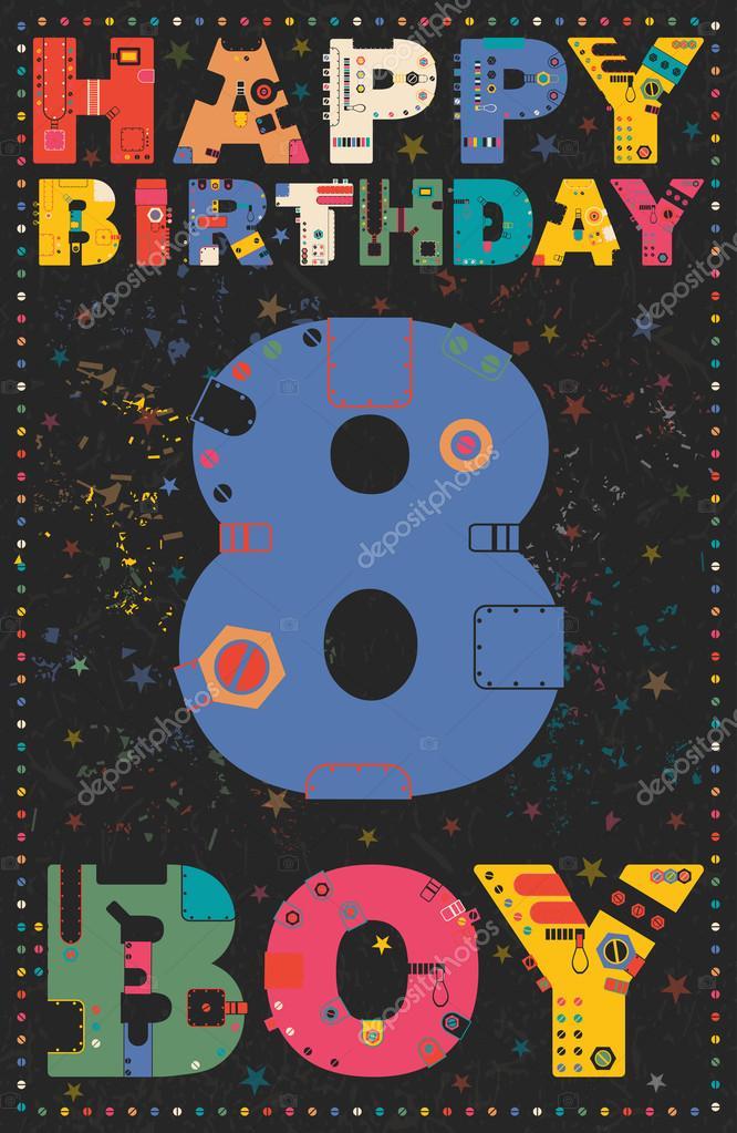 Gelukkige Verjaardagskaart Gelukkige Verjaardag Jongen 8 Jaar