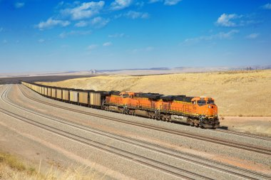Diesel trains are transporting coal