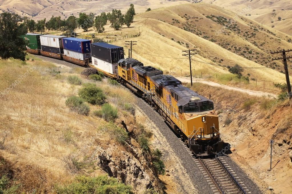 Diesel trains are transporting cargo containers