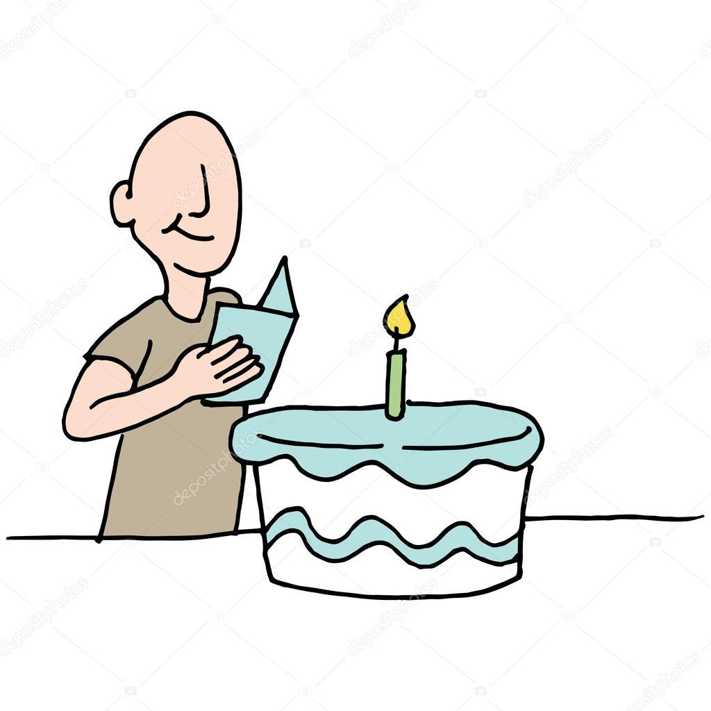 Homem Lendo O Cartão De Aniversário Vetores De Stock