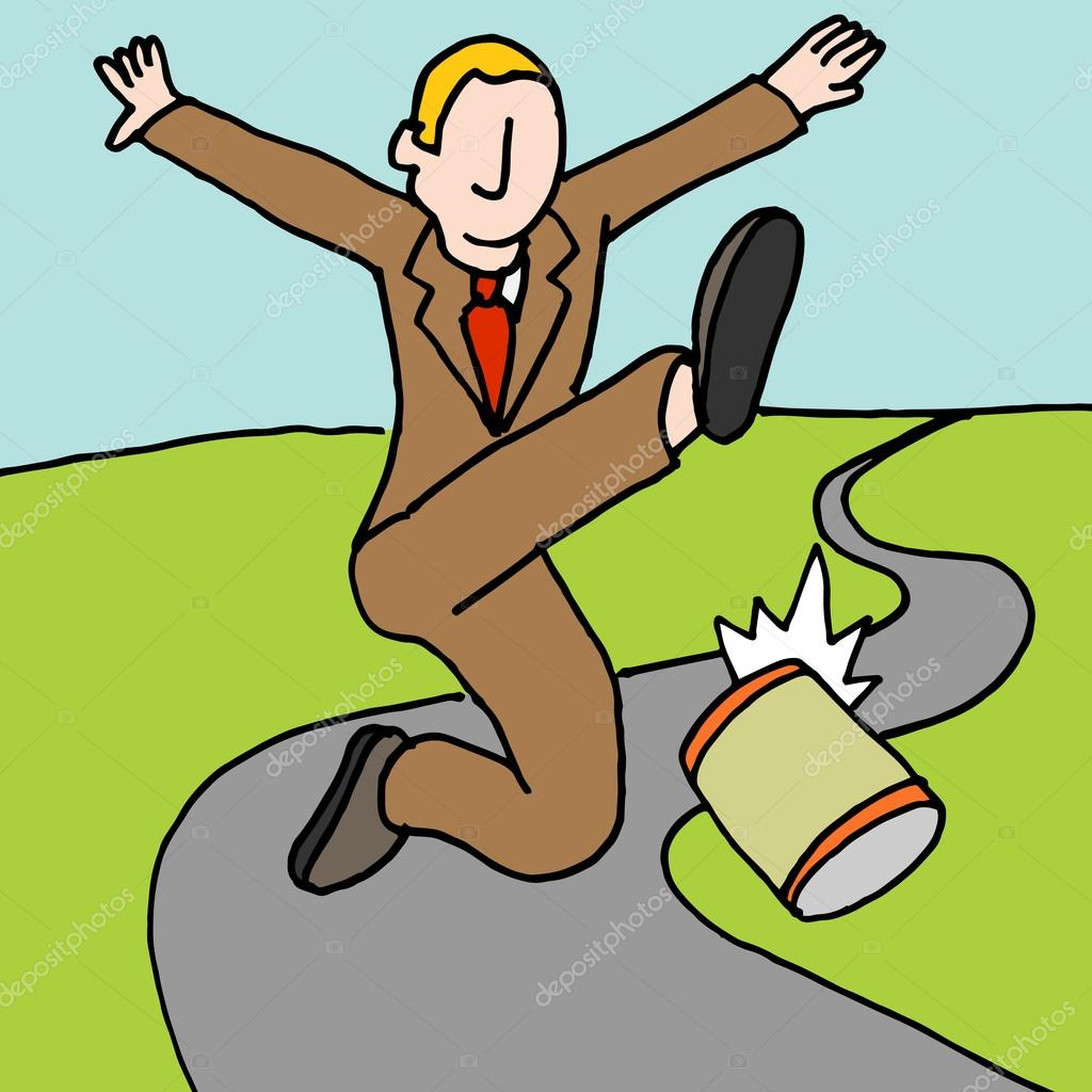 Man kicking can down the road metaphor — Stock Vector