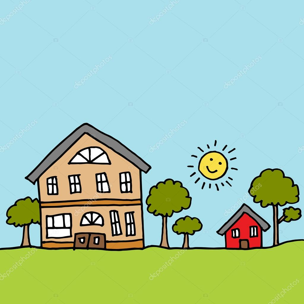 Casa grande al lado de una casa peque a vector de stock for E casa com
