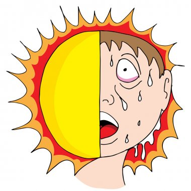 An image of a man sweating from the hot sun. stock vector