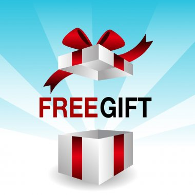 An image of a 3d free gift icon. clip art vector