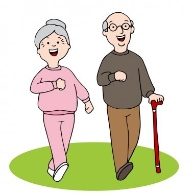 Senior Citizens Walking