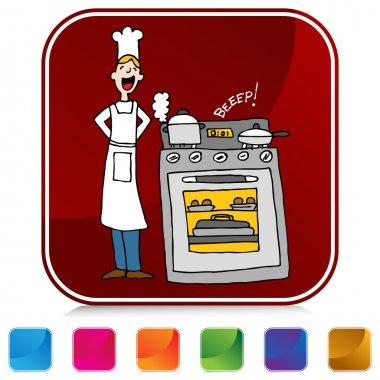 Chef Cooking Using A Timer Button Set
