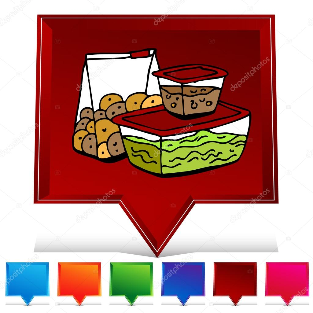 Leftover Food Storage Container Gemstone Button Set Stock Vector