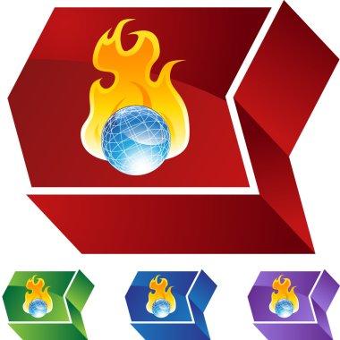 Burning Globe web button