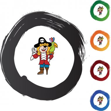 Pirate with a bird web button
