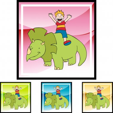 Triceratops and boy web icon
