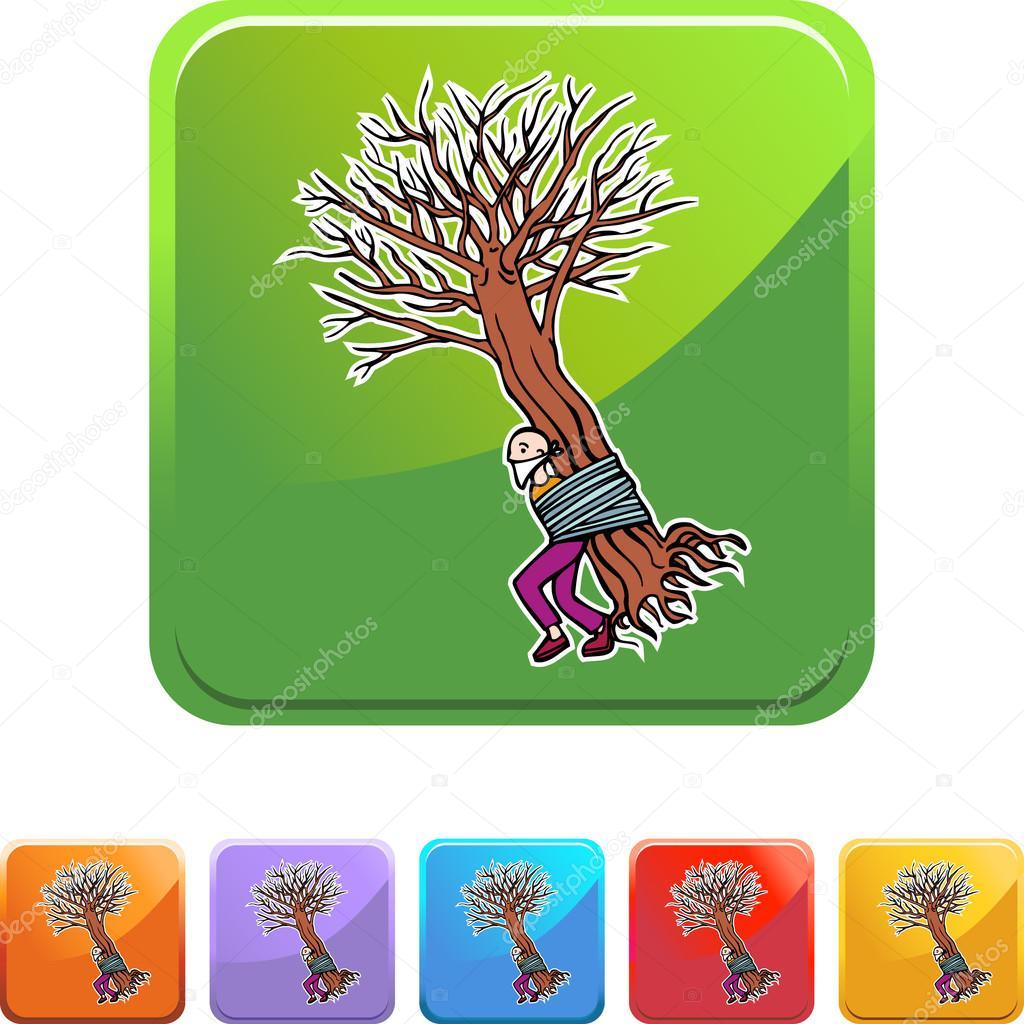 Man Tied to Tree web button