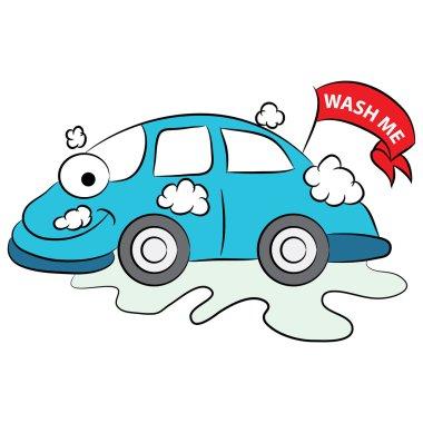 Cartoon Car Being Washed