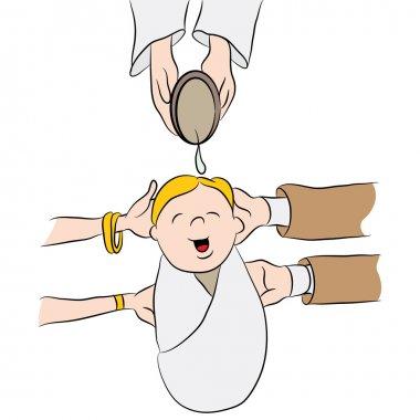 Child Being Baptized Cartoon