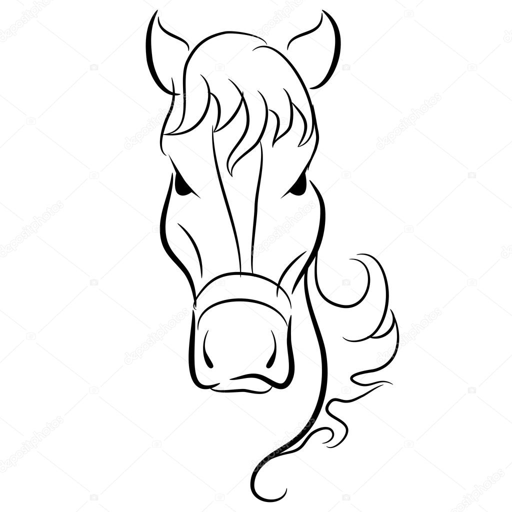 Simple Horse Head Drawing Horse Head Drawing Stock Vector C Cteconsulting 79399404