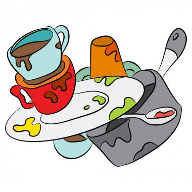 Cartoon Dirty Dishes