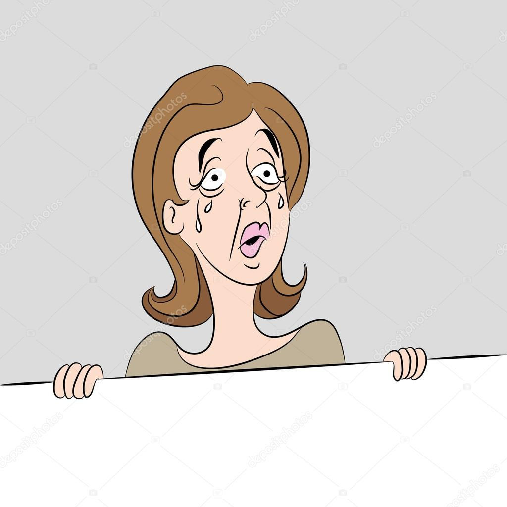 cartoon woman crying