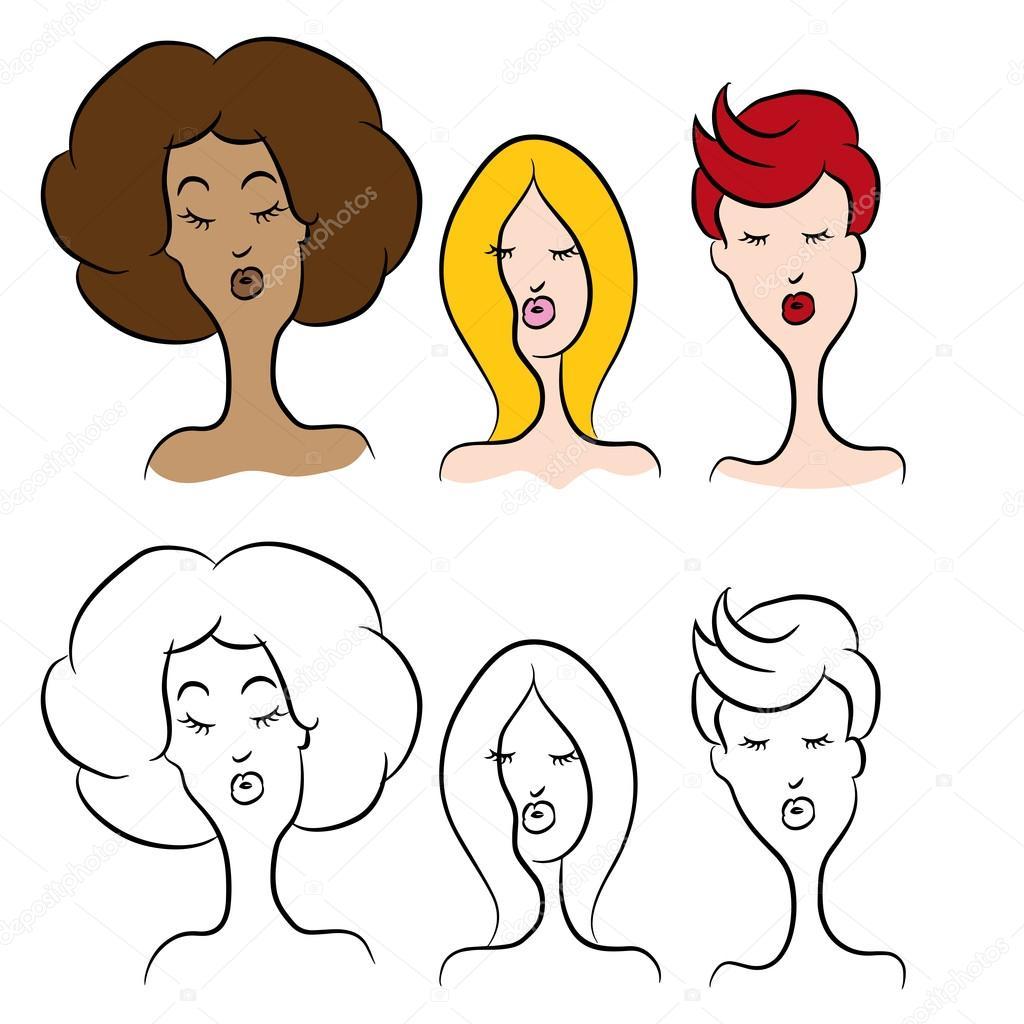 Dibujos Animados Mujeres Con Peinados Modernos Vector De Stock