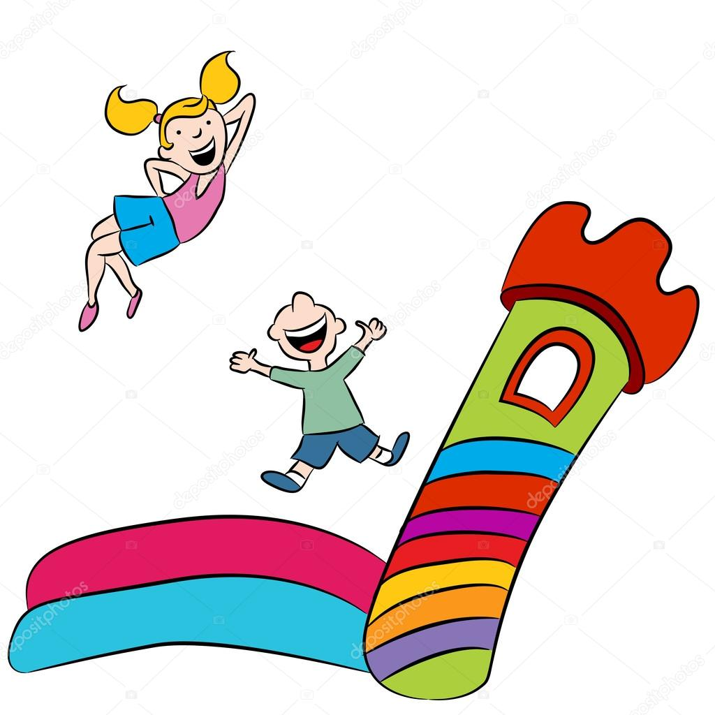 bounce house kids stock vector cteconsulting 95433496 rh depositphotos com bounce house clipart free inflatable bounce house clipart