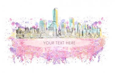 New York, vector drawing with grunge banner on watercolor background