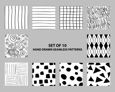 Hand drawn seamless geometric patterns
