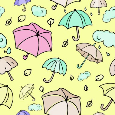 Autumn yellow umbrellas seamless pattern