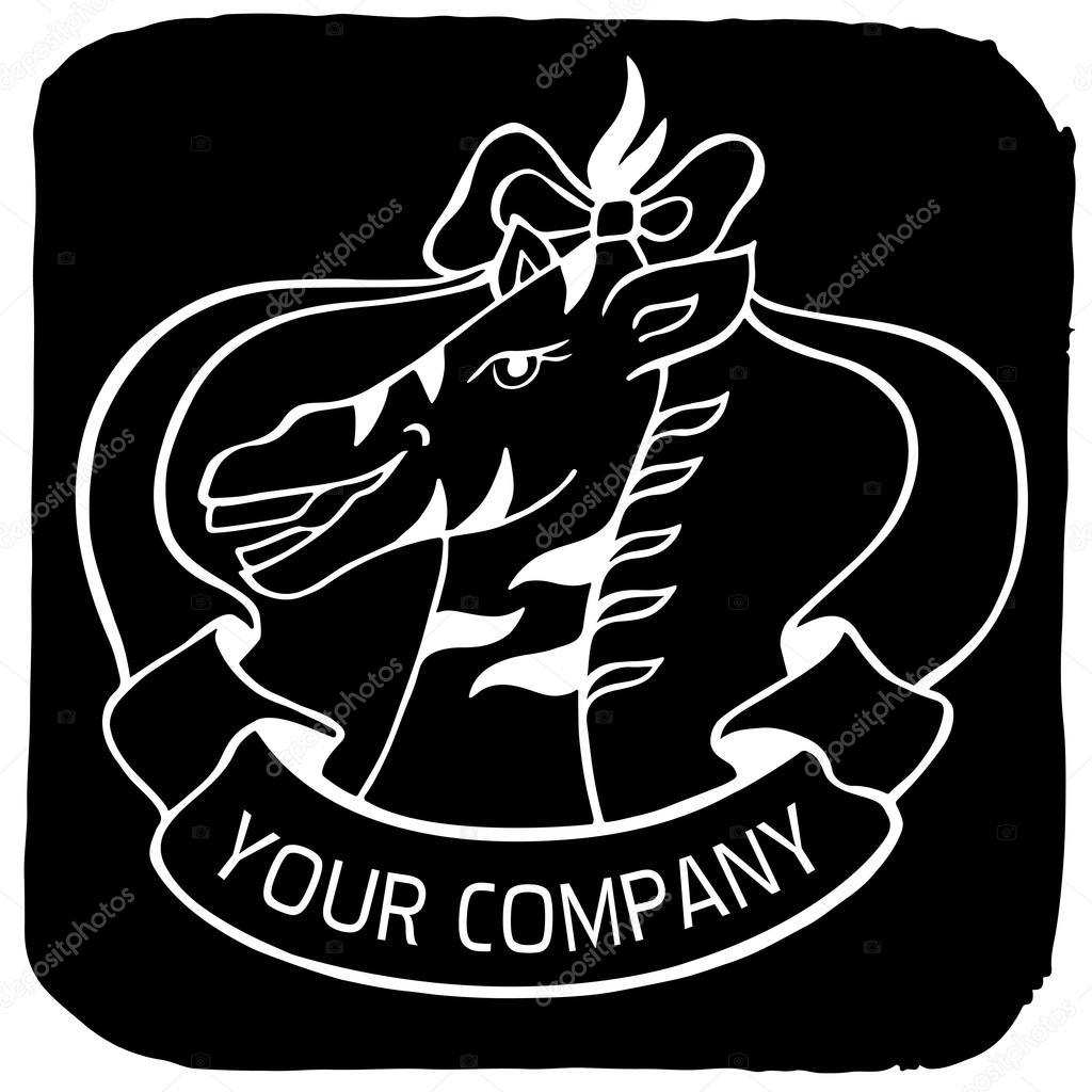 Zoo-Logo oder Label mit wilden Tier Zebra und Farbband — Stockvektor ...