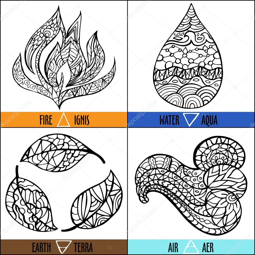 Vector four elements of nature - Fire, air, earth, water