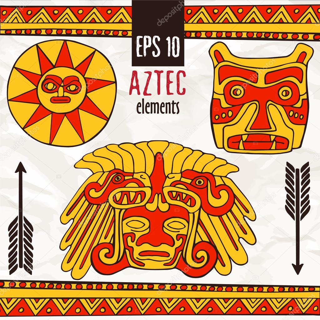 Dibujos Aztecas A Color Mano Dibuja Aztecas Elementos Fantásticos